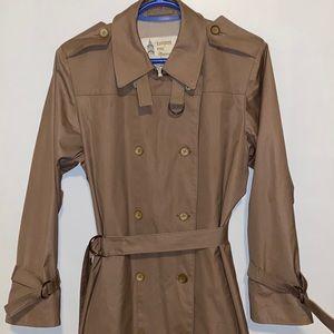 London Fog long beige trench coat size 10 petite